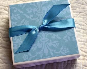 Tile Coaster Set - Blue on Blue Flourishes