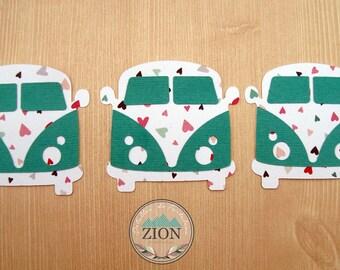 Combis VW Hearts/Teal - Hippie Van Love- 3 pieces - Scrapbook embellishment