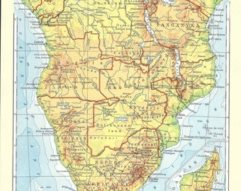 Old map of Africa Southern (1962) - original vintage in South Africa 1962 map (21cm x 29, 7cm)-sold box