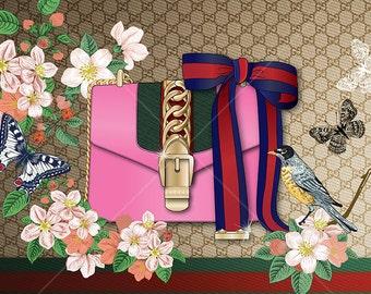 Fashion poster, Gucci Handbag, Sylvie bag, fashion print, fashion illustration, Handbag illustration, fashion graphic, Gucci Tian siries
