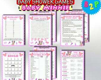 Minnie Mouse Baby Shower Games, Printable Baby Shower Games Package, Baby Minnie Mouse Games Pack, Shower Set Games, Instant Download - bm2