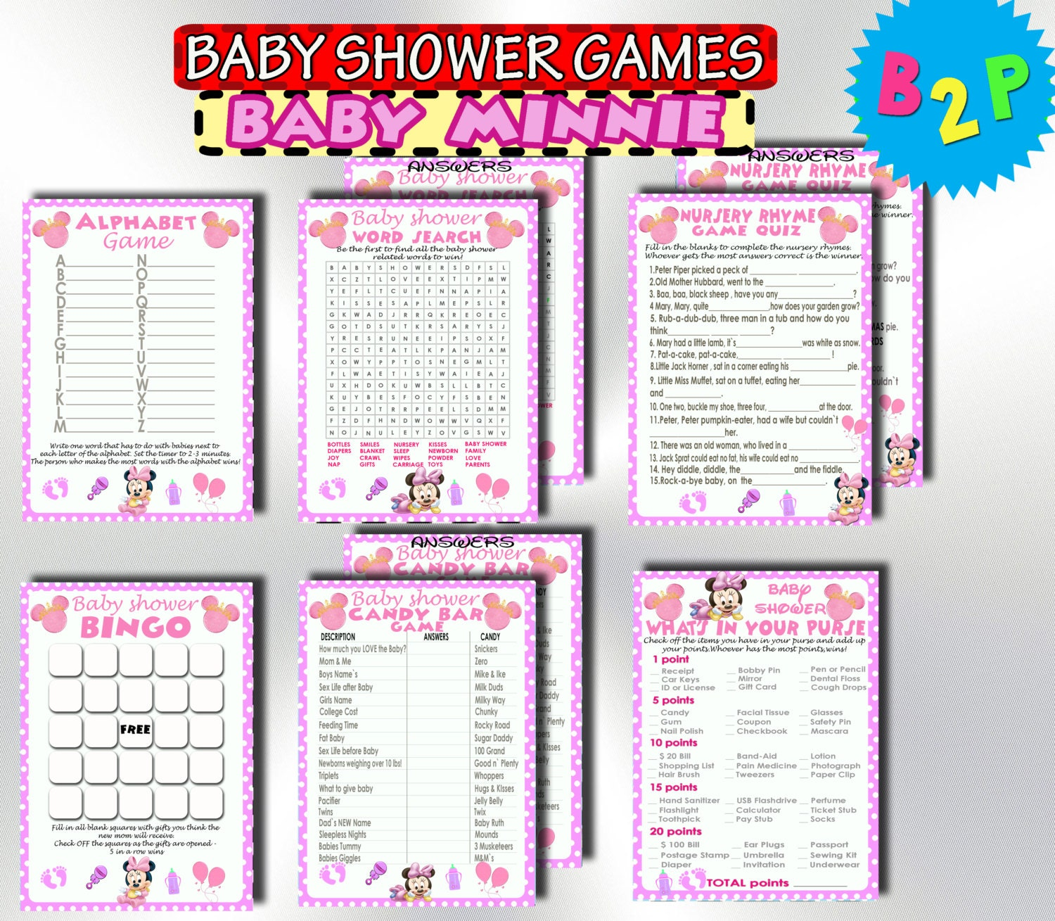 minnie mouse baby shower games printable baby shower games