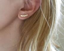 Golden Triangle earring, Arrow Stud , Raindrop earring, Minimalist ear jackets, mix and match, Drops Ear Jacket