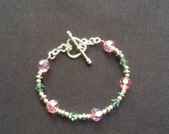 Pink & Green Swarovski Crystal Sterling Silver Bracelet