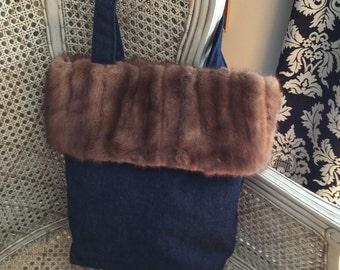 Handmade Tote Bag, trimmed with vintage sourced Mink