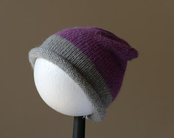 Slouchy baby beanie in purple and grey