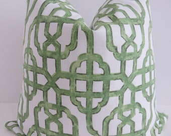 Green White Pillow Cover, Green Pillow Cover, Accent Pillow Cover, Pillow Cover, Home Decor, Accent Home, Fretwork Pillow, Lime Green Pillow