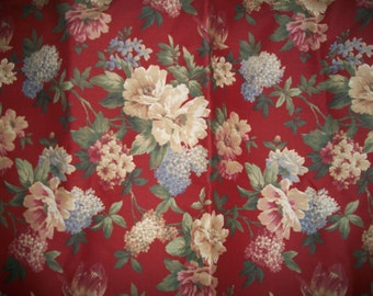 """Vintage Red/Multi-Color Floral Heavy Cotton Upholstery Fabric - 5 Yards - 54"""" X 145"""""""