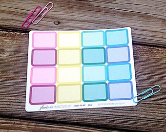 Alice // Half Boxes, BASICS, Planner Stickers, Jewel Tones, Erin Condren, Happy Planner, Blank Labels, Blank Boxes, Rounded Rectangles
