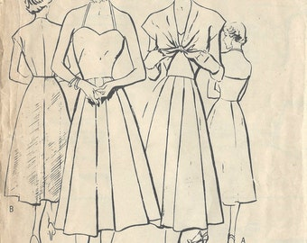"1950s Vintage Sewing Pattern B32"" DRESS & JACKET (R423) Butterick 5337"