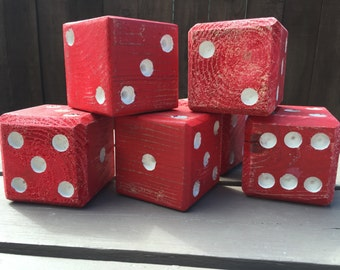 Set of 6 Red & White Lawn Dice