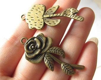 Rose Flower Charm Pendant Antique Brass Drop Handmade Jewelry Finding 19x42mm 2 pcs