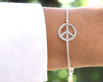 Bracelet silver chain massive and intercalary peace and love