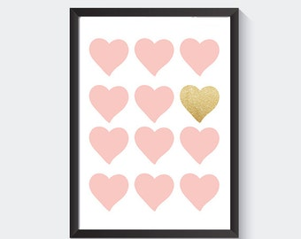 Pink and glitter prints nursery wall art, pink and glitter hearts girls room glitter nursery printable art gold pink hearts blush pink heart