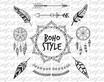 Boho style SVG, Ethnic svg designs for Silgouette and Cricut, Boho dreamcatchers and feathers, Svg Dxf Png digital DIY project files