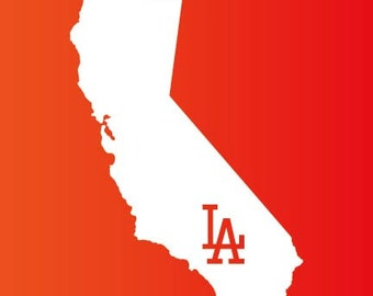 State California Outline Decal Los Angeles Dodgers Logo Decal Sticker