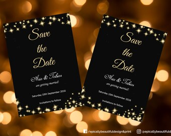 Save the Date Card | Weddings| Stars | Starry Champagne Sky Theme