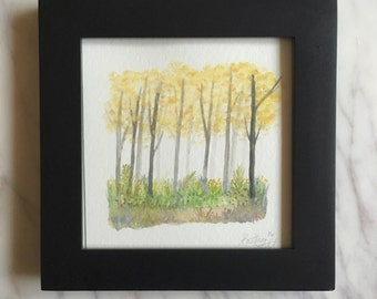 Birch forest watercolor - mounted