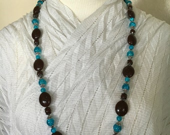 Chocolate and turquoise beaded necklace!