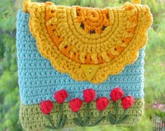 Crochet bag pattern, flower purse, PDF pattern, girls' purse, Kids' bag