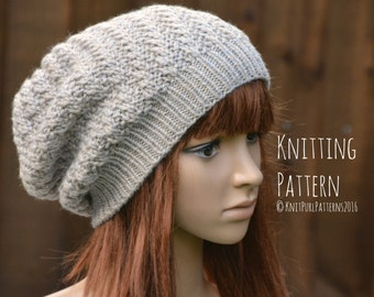 Knitting Pattern PDF Instant Digital Download Womens Diagonal Slouchy Hat Knit It Yourself KPWS14