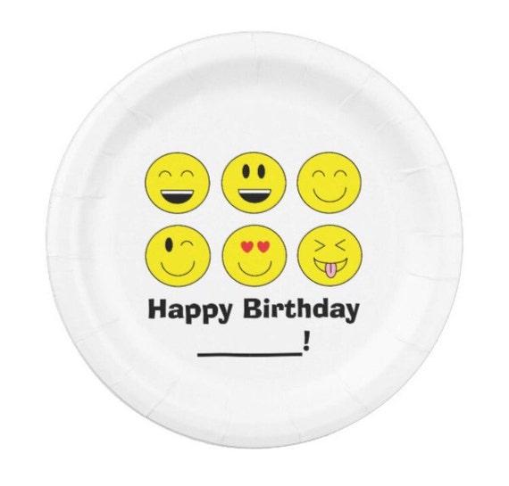 Personalized White Plate with Emoji group