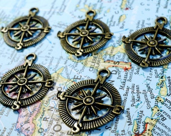 Compass charms 10 bronze vintage style nautical pendant charm jewellery supplies C3
