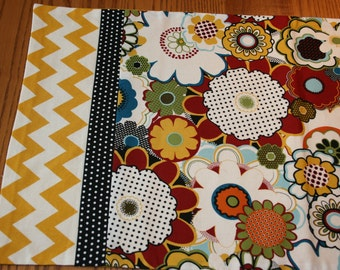Floral table runner, polka dots, chevron, black, yellow