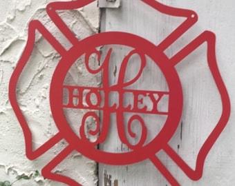 Metal Firefighter Door Hanger//Wedding Gift//Grooms Table//Personalized Gift//Monogram//Door Decor