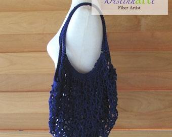 Mesh Shopping Bag in Purple / Handmade Crochet / Women's Gift Idea / Cotton  / Market Bag / Beach Bag