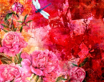 Roses and dragonflies