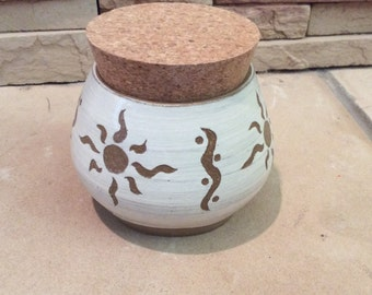Beautiful Carved Earthenware Pot with Cork Lid