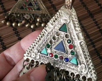 Triangle Kuchi Tribal ATS Pendants, Pair