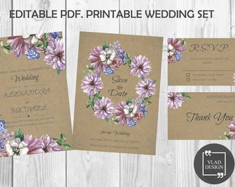 Floral Wedding Invitation Template Set + RSVP + Save The Date + Thank You Card - Instant Download Editable PDF DYI Add your own text form