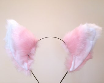 Cat ears Kitty Fox ears Pink White Headwear Furry Animal Headband Costume