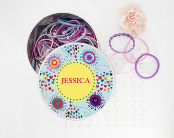 Personalised Girls Flower Burst Hair Bobble Tin-Accessories Tin-Storage Tin!