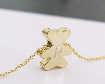 Teddy Bear Necklace Personalized with Initial Charm in Gold, Silver or Rose Gold