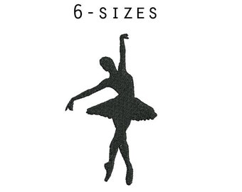 6 sizes - Ballerina Embroidery Design, Ballerina Silhouette Embroidery, Dancer Embroidery, Machine Embroidery Pattern, Instant Download
