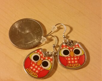 Adorable orange owl earrings