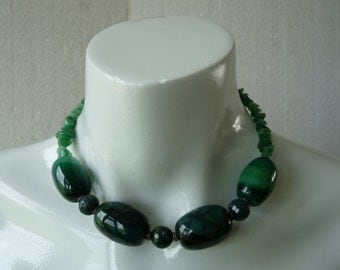 Agate and aventurine choker - beaded necklace - green - Gemchristina AG0740