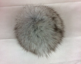 Light Grey With Brown Tips Natural Genuine Fur Pom Pom Ball 3''-3.5''Width
