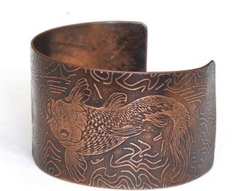 Copper Cuff Bracelet with Oriental Fish Koi Carp Design Hand Crafted  Artisan Boho