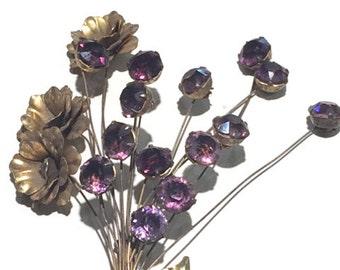 Vintage Sterling Silver En Tremblant Rhinestone Flower Pin