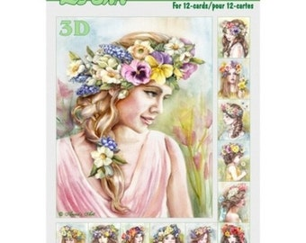Book leaves 3D cutting, gluing, cardmaking girl flowers 665