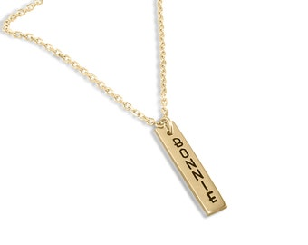 Gold name charm pendant with engraved personalization