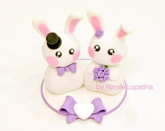Bunny and Rabbit wedding cake topper Handmade bride and groom White Bunnies Custom cake topper Funny wedding cake topper