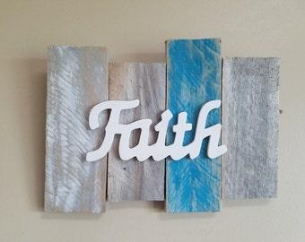 Reclaimed pallet art - Faith wall hanging