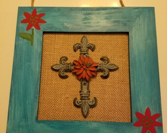 Wood handpainted framed cross