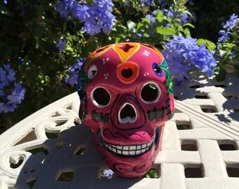 Mexican Folk Art Talavera Clay Ceramic Pink Multi-Color Sugar Skull Catrina