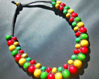 """Necklace """"Rasta"""" woven macrame with wood beads"""